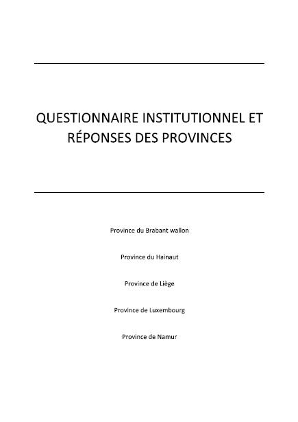 Questionnaire institutionnel et réponses des Provinces