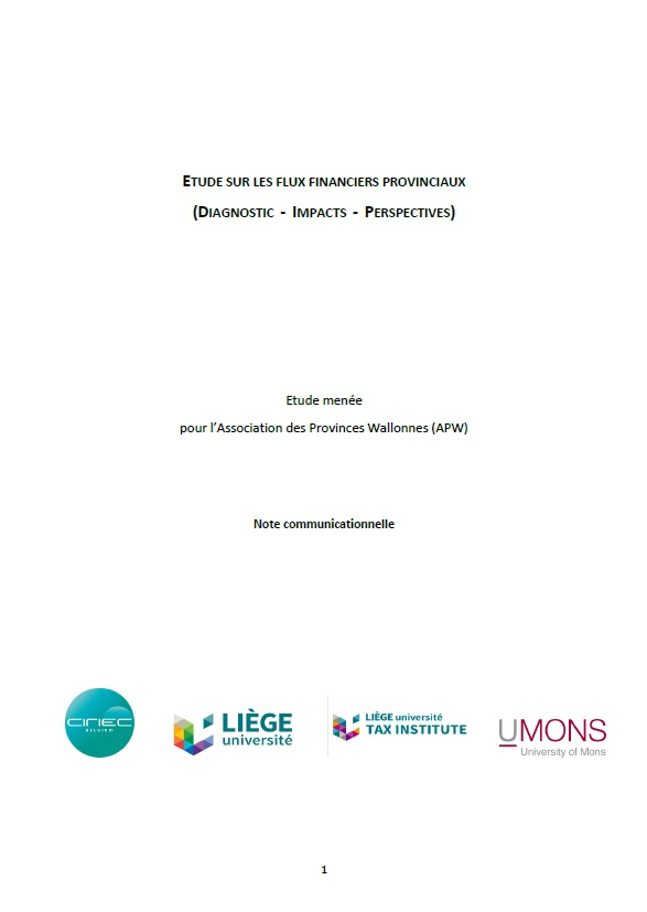 Note communicationnelle - Etude sur les flux financiers provinciaux